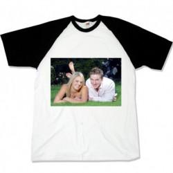 Тениска с черни ръкави размери S.M. L. XL. XXL