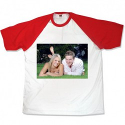 Тениска с червени ръкави размери S.M. L. XL. XXL