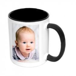 Чаша с цветна вътрешност и цветна дръжка-черна 300мл.