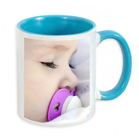 Чаша с цветна вътрешност и цветна дръжка-синя 300мл.