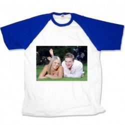 Тениска със сини ръкави размери M. L. XL. XXL