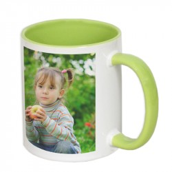 Mug with colored interior and handle - green 300ml