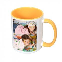 Mug with colored interior and handle - yellow 300ml