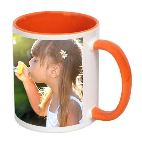 Чаша с цветна вътрешност и цветна дръжка-оранжева 300мл.