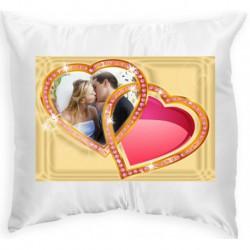 Възглавница с рамка две сърца 2 33х33 см