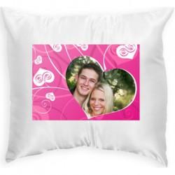 Възглавница с рамка  розово сърце 2 33х33 см