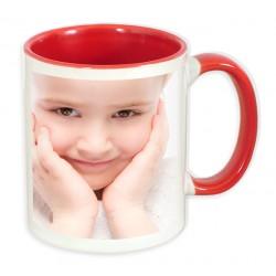 Чаша с цветна вътрешност и цветна дръжка-червена 300мл.